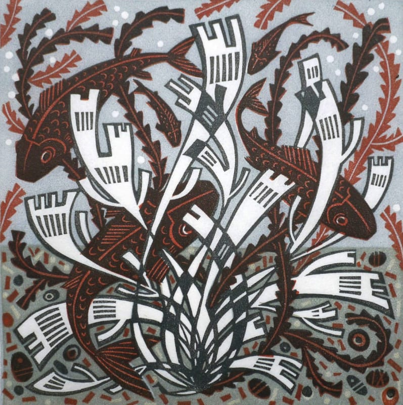 Angie Lewin RWS RE, Five Fish