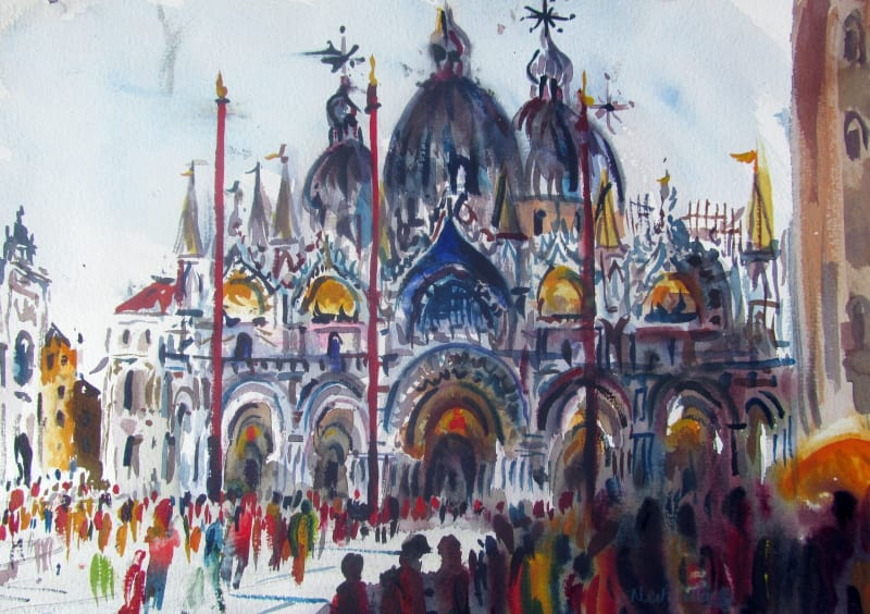 Neil Pittaway RWS RE, Morning Crowds, San Marco, Venice