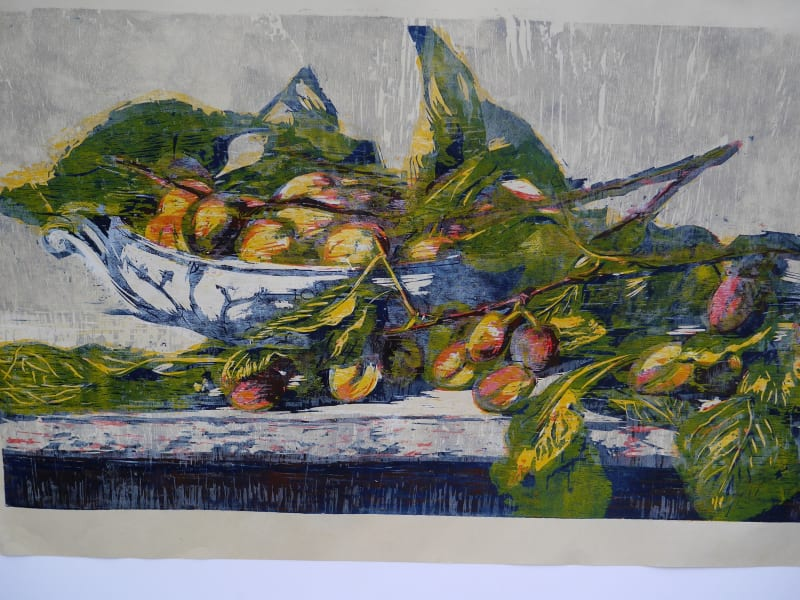 Hilary Daltry RE, September Fruits On Copenhagen Dish