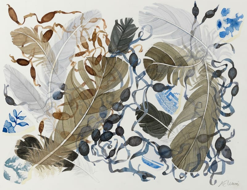 Angie Lewin RWS RE, Berneray Blue, Brown Feathers, 2017