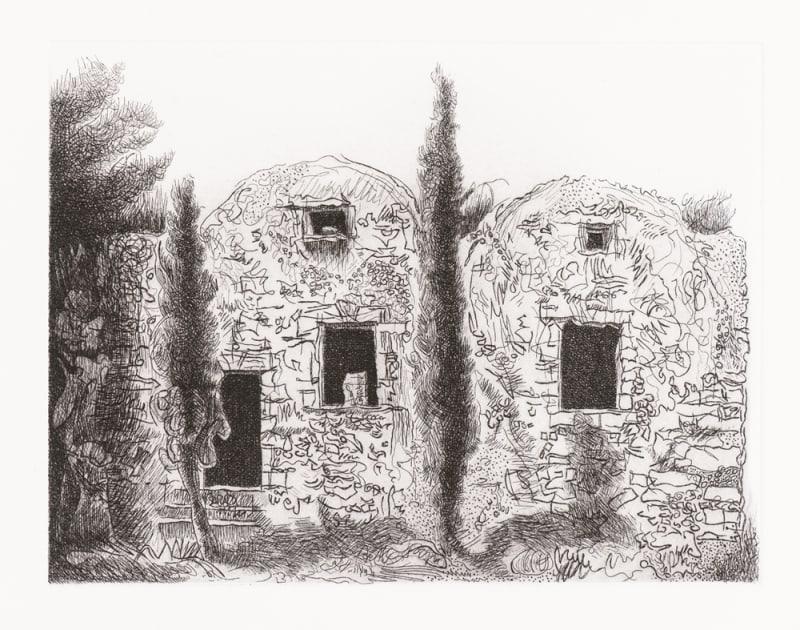 Paul Hawdon RE, Two Cypress Trees