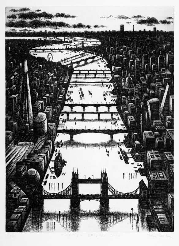 John Duffin RE, Thames Bridges Dusk