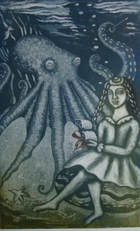 Linda Landers RE, Girl Reading Poetry to an Octopus