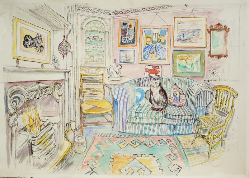 Richard Bawden RWS RE, Sitting Room by the Fire