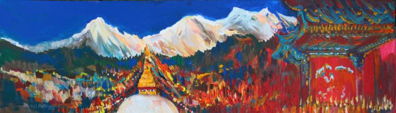 Neil Pittaway RWS RE, Kathmandu Panorama