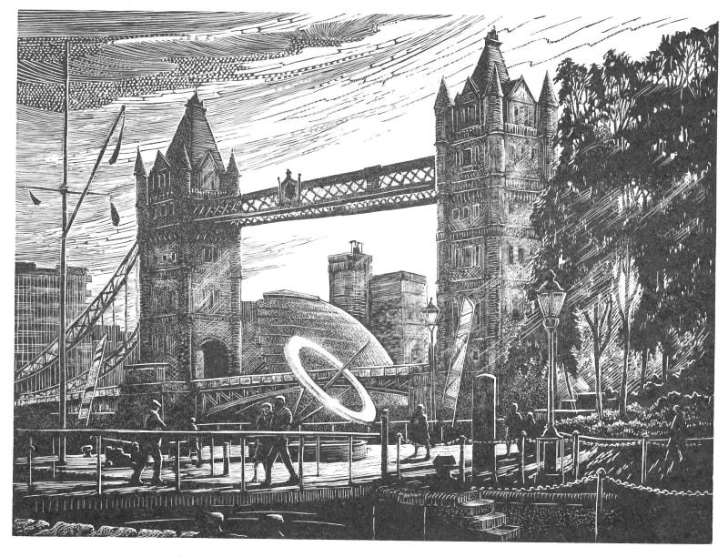 John Bryce RE  Sundial  wood engraving