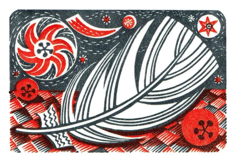 Angie Lewin RWS RE  Star & Feather  wood engraving