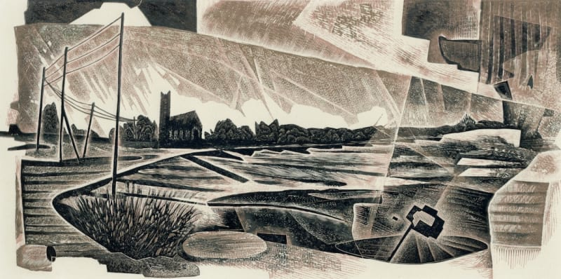 Neil Bousfield RE  Marshlands  wood engraving