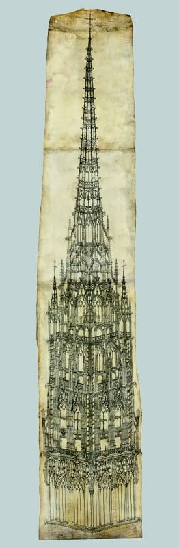 A monumental drawing for the crossing tower of Rouen Cathedral