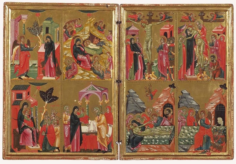 Diptych with scenes from the life of Christ