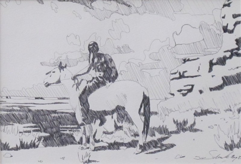 Billy Schenck, Horse and Rider Study