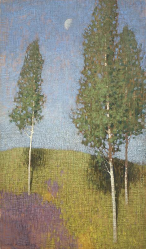 David Grossmann, Three Aspen and Late Morning Moon