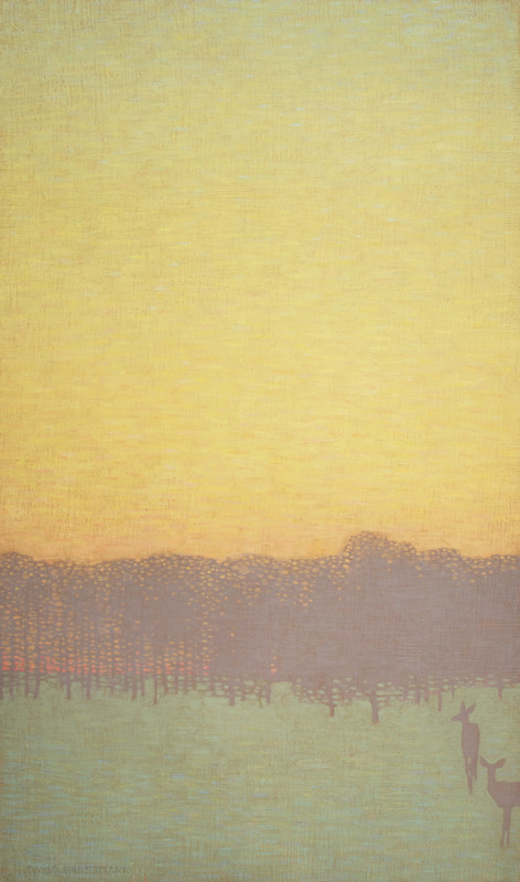 David Grossmann, Two Deer with Yellow Sky
