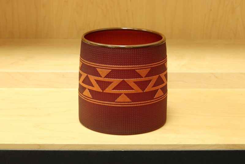 Preston Singletary, Tlingit Berry Basket:#B18-38: Red/Cedar Brown Lip