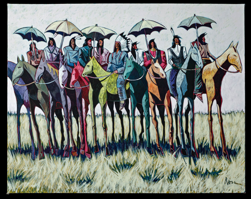 Thom Ross, Indians with Umbrellas