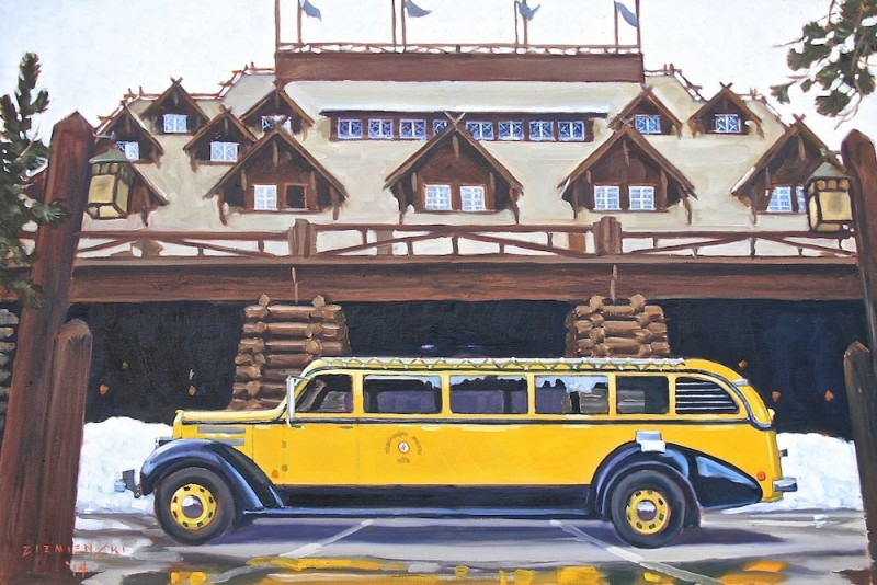 Dennis Ziemienski, Yellowstone Bus at Old Faithful Inn