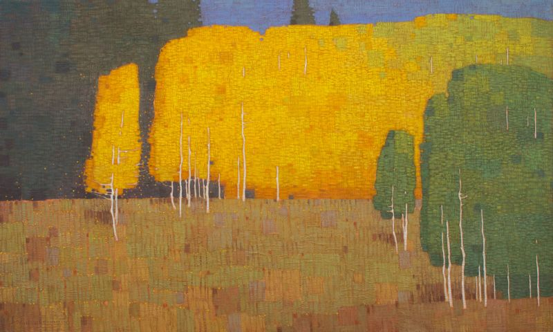 David Grossmann, Autumn Morning with Changing Trees