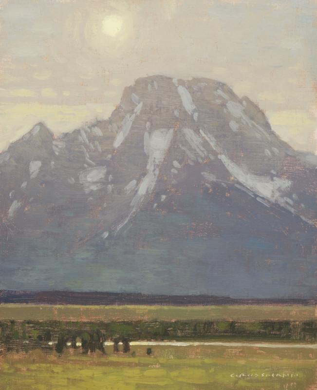 David Grossmann, Mount Moran with Late Afternoon Sun, Study