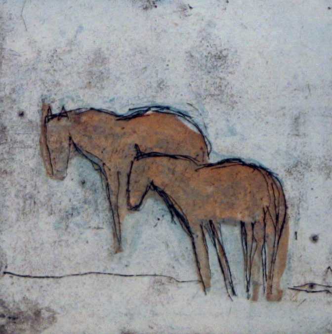 Works on Paper by Theodore Waddell, Ruby River Horses V