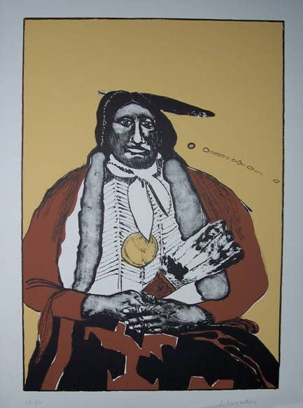 Fritz Scholder, Indian with Feather Fan State II AP