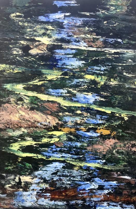 James Pringle Cook, Oak Creek Reflections Study- Raindrops #4