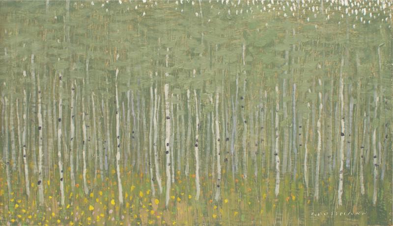 David Grossmann, Summer Aspen Forest with Flowers