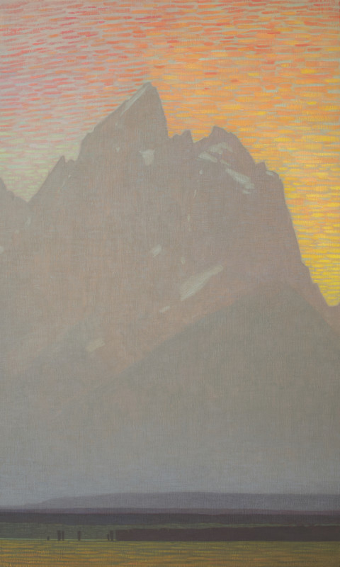 David Grossmann, Grand Teton with Bright Sunset