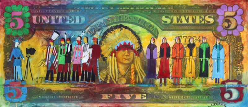 Stan Natchez, Shadow Catcher on Five Dollar Bill (Beadwork)