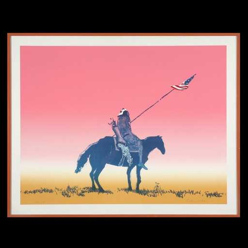 Fritz Scholder, Indian with Flag, Artist Proof, 1973