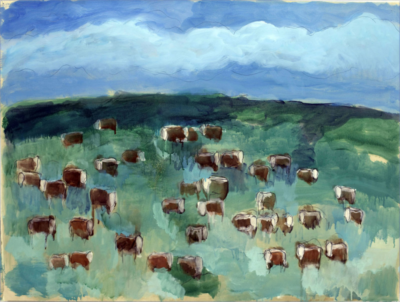 Works on Paper by Theodore Waddell, Bayer's Herefords Dr. #9