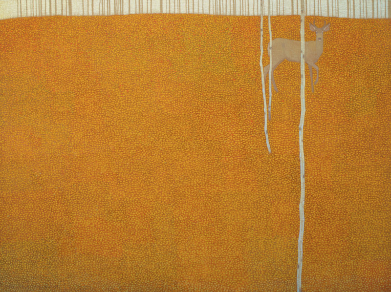 David Grossmann, Fallen Leaf Patterns with Solitary Deer