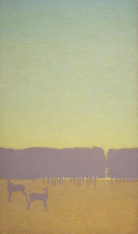 David Grossmann - Two Deer with Green Sky