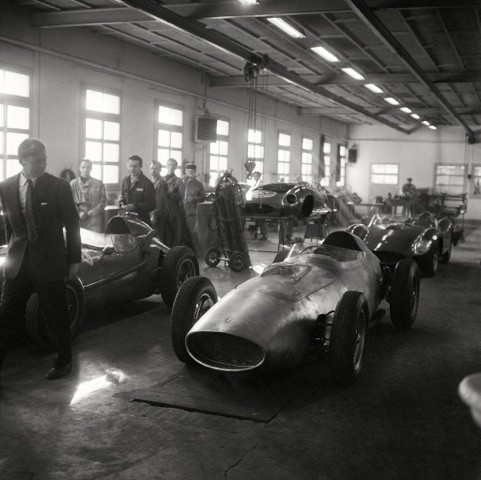 PAUL FRERE VISITING THE FERRARI RACE SHOP, MARANELLO, 1957