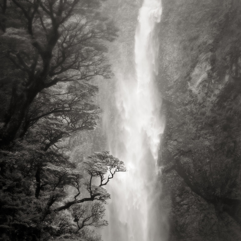 WATERFALL, SOUTHERN ALPS, NEW ZEALAND, 2011