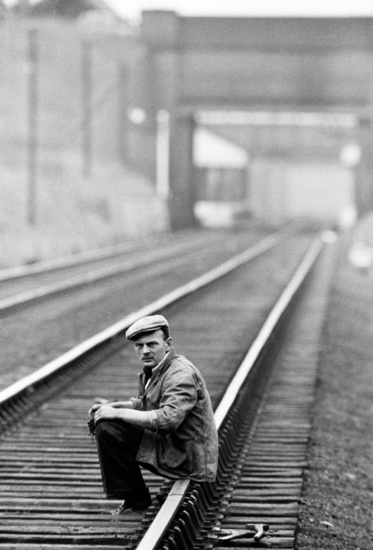 MAN SITTING ON RAILWAY, THE POTTERIES, 1960