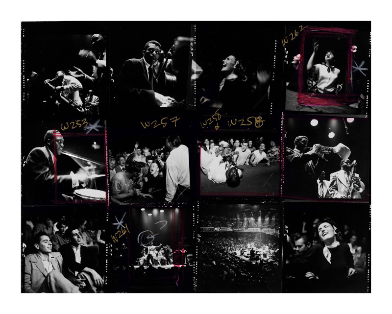 BIG JAY MCNEELY (CONTACT SHEET), OLYMPIC AUDITORIUM, LOS ANGELES, 1951