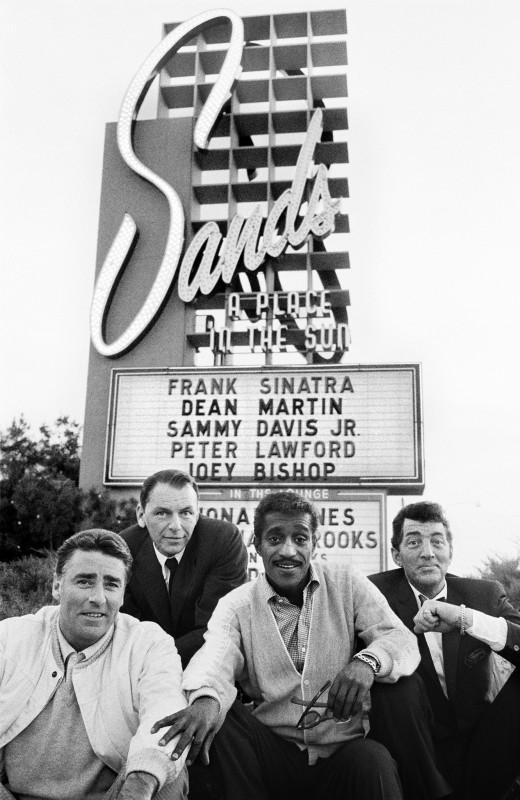 RAT PACK ROGUES, PETER LAWFORD, FRANK SINTRA, SAMMY DAVID JR AND DEAN MARTIN, SANDS HOTEL, LAS VEGAS, 1960