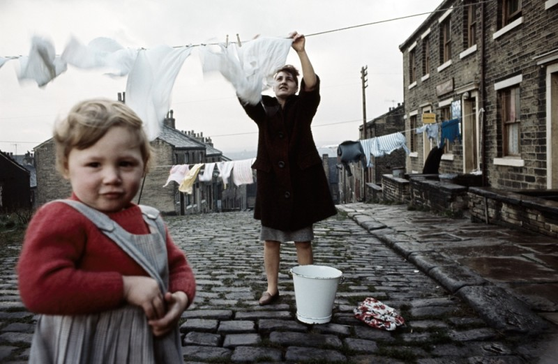 WOMAN AND CHILD WITH WASHING LINE, HALIFAX, 1965