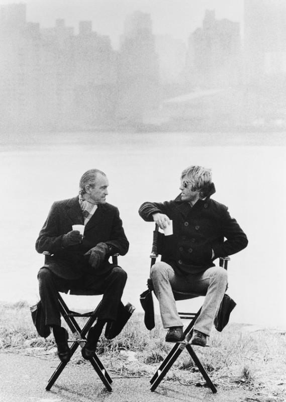 ROBERT REDFORD & RICHARD HELMS, CIA ADVISOR ON THREE DAYS OF THE CONDOR, RYKER'S ISLAND, NEW YORK, 1975