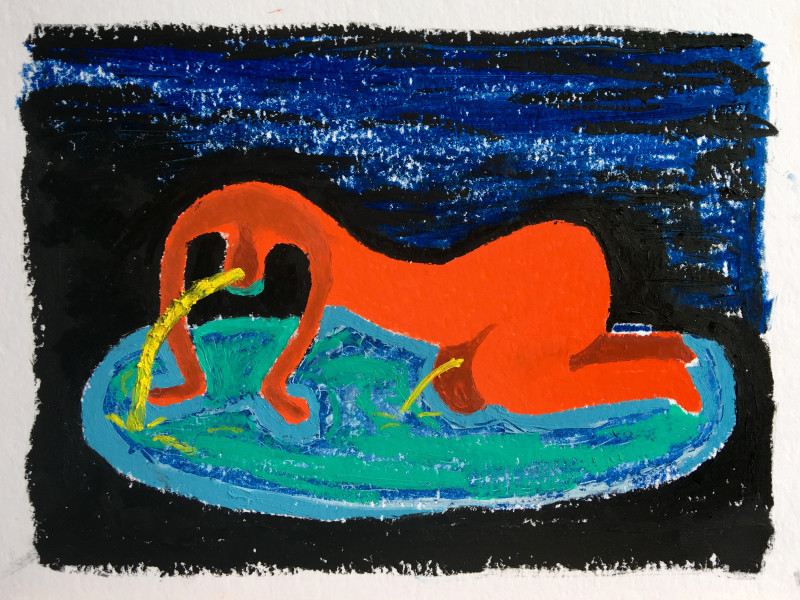 Night bather, 2018 Oil pastel on paper 24 x 32 cm 9 1/2 x 12 5/8 in