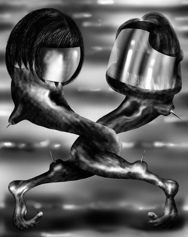 Study for Fight, 2018 iPad drawing (spray paint, graphite and charcoal) 189.2 x 149.4 cm 74 1/2 x 58 7/8 in