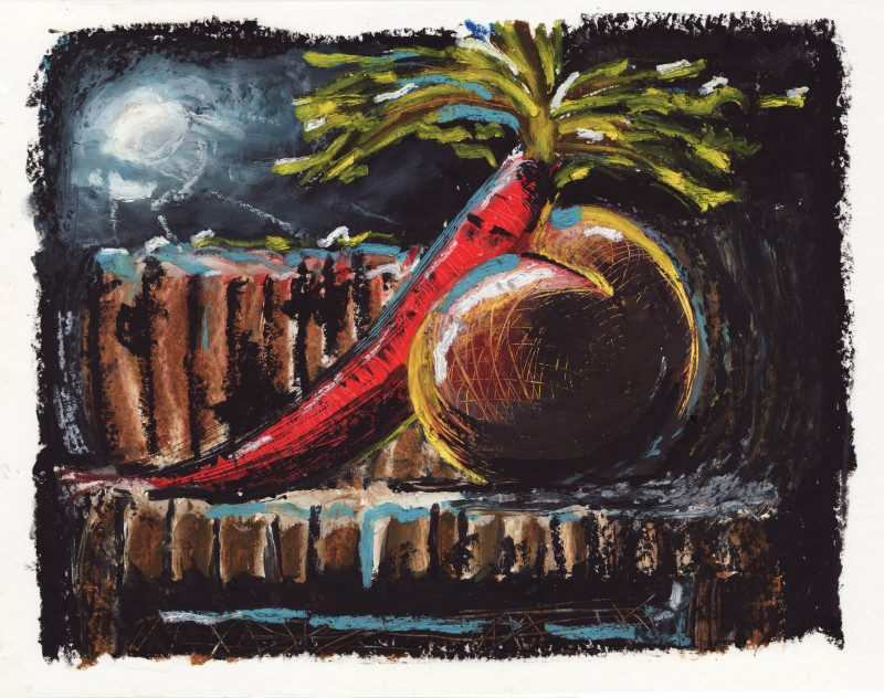 Still-life with insomniac carrot, 2018 Oil pastel on paper 24 x 32 cm 9 1/2 x 12 5/8 in