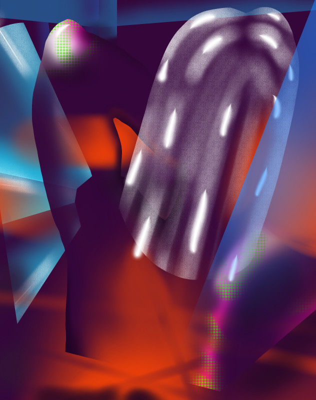 The Ass-tronaut, 2017  iPad drawing (spray paint, graphite and ink)  190.6 x 150.5 cm  75 1/8 x 59 1/4 in