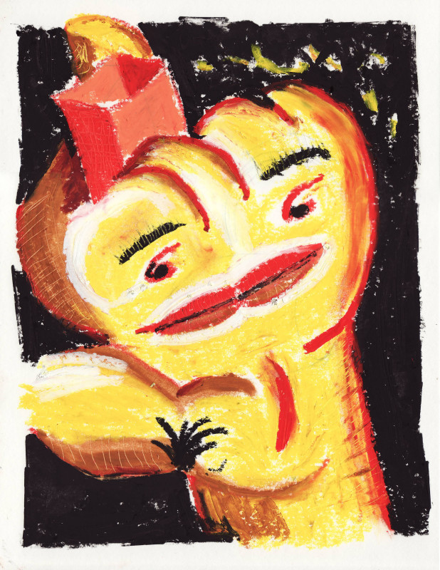Fist Knows Best, 2018 Oil pastel on paper 32 x 24 cm 12 5/8 x 9 1/2 in