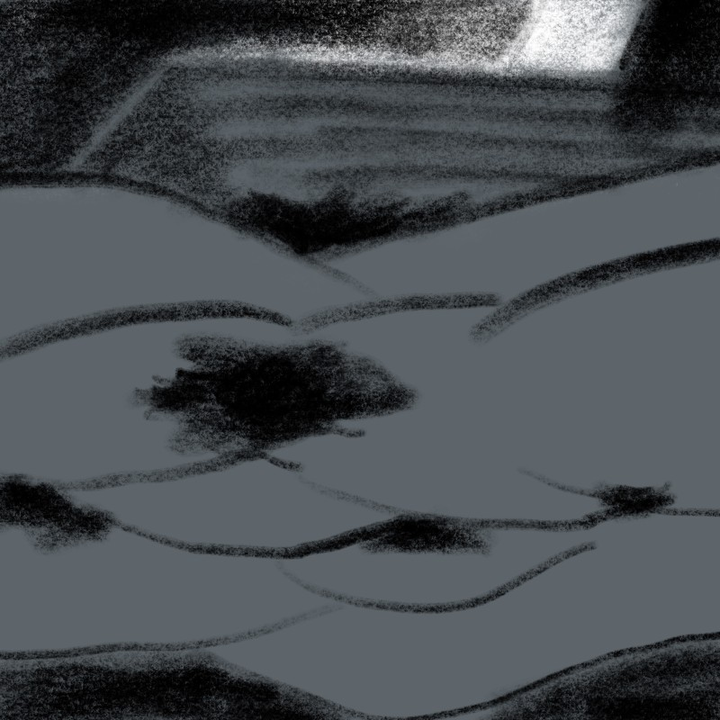 Untitled Landscape by Bedside Table, 2018 iPad drawing (charcoal and chalk) 54 x 54 cm 21 1/4 x 21 1/4 in Series: Loose Drawings