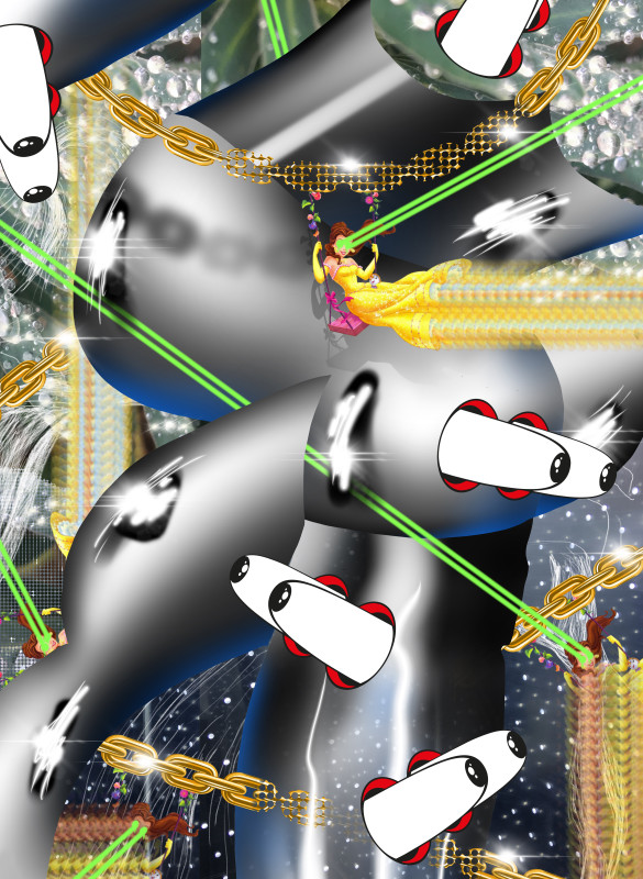 Beam me up edible, 2018 iPad drawing (spray paint, graphite, photography and clip art illustration) 145 x 105.9 cm 57 1/8 x 41 3/4 in