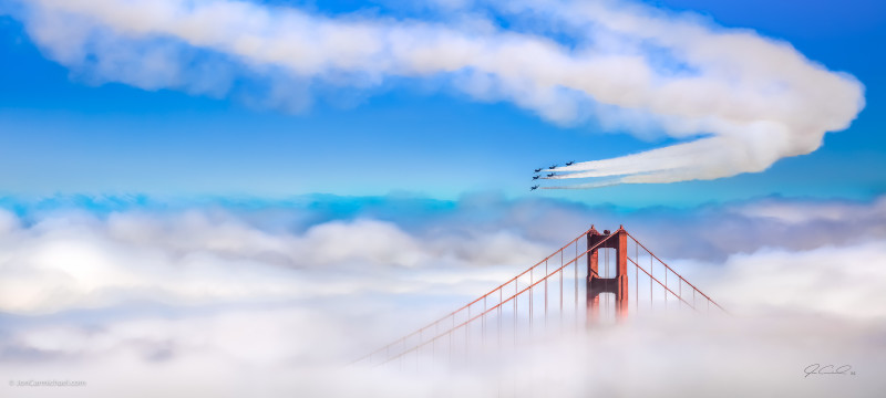 Jon Carmichael, Imagine, 2015 (Blue Angels performing over the Golden Gate), 2015