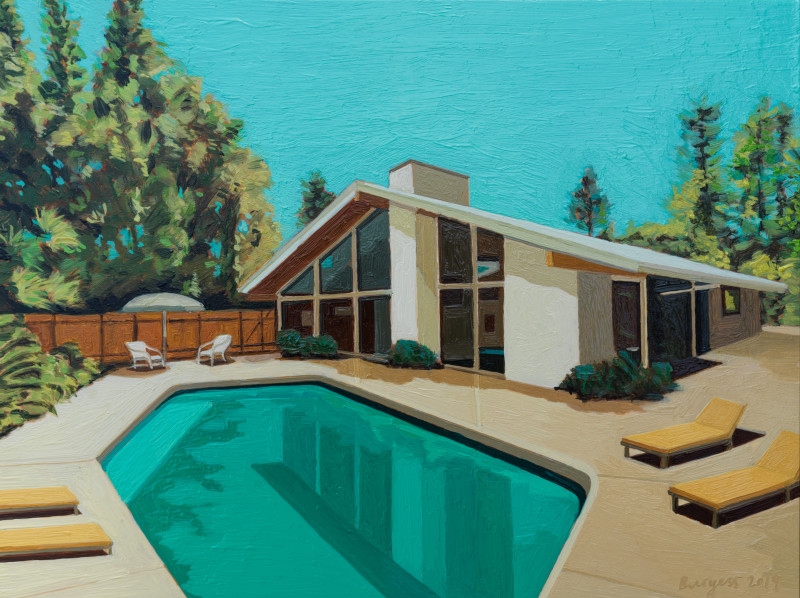 Andy Burgess, Ranch House with Yellow Sun Chairs, 2019