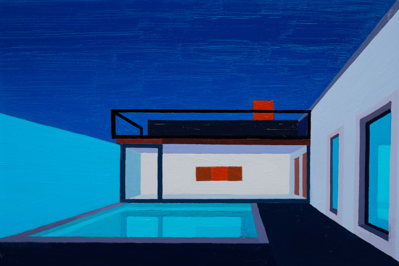 Andy Burgess, Blue Courtyard and Pool, 2016