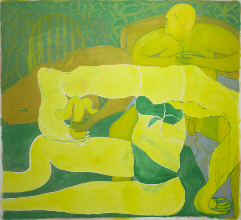 Tahnee Lonsdale Posing Yellow Figure, 2018 oil on canvas 190 x 210 cm 74 3/4 x 82 5/8 in